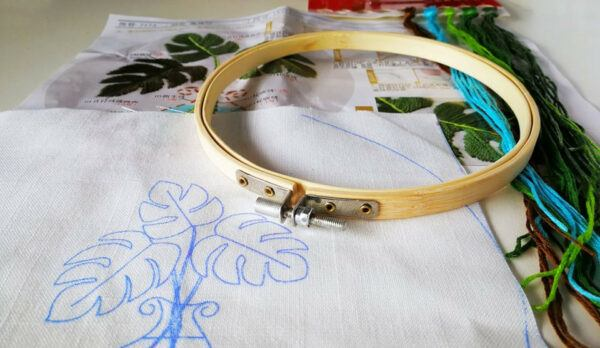 beginners hand embroidery kits plant monstera