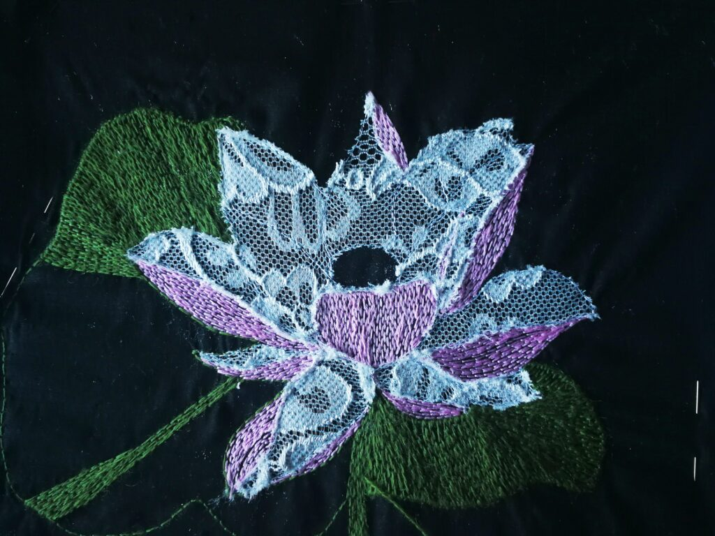 myembroiderypassions Lotus Hand Embroidery Flower Design Purse