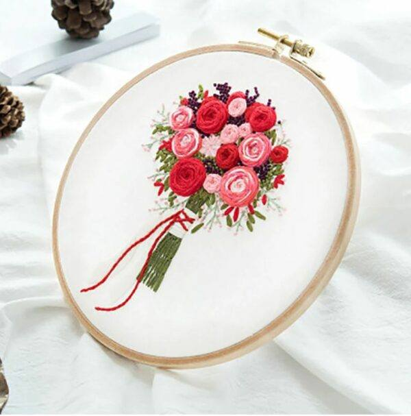 Red myembroiderypassions 3D bouquet flower embroidery kit