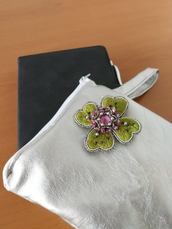 myembeoiderypassions luxury brooch lucky clover small purse