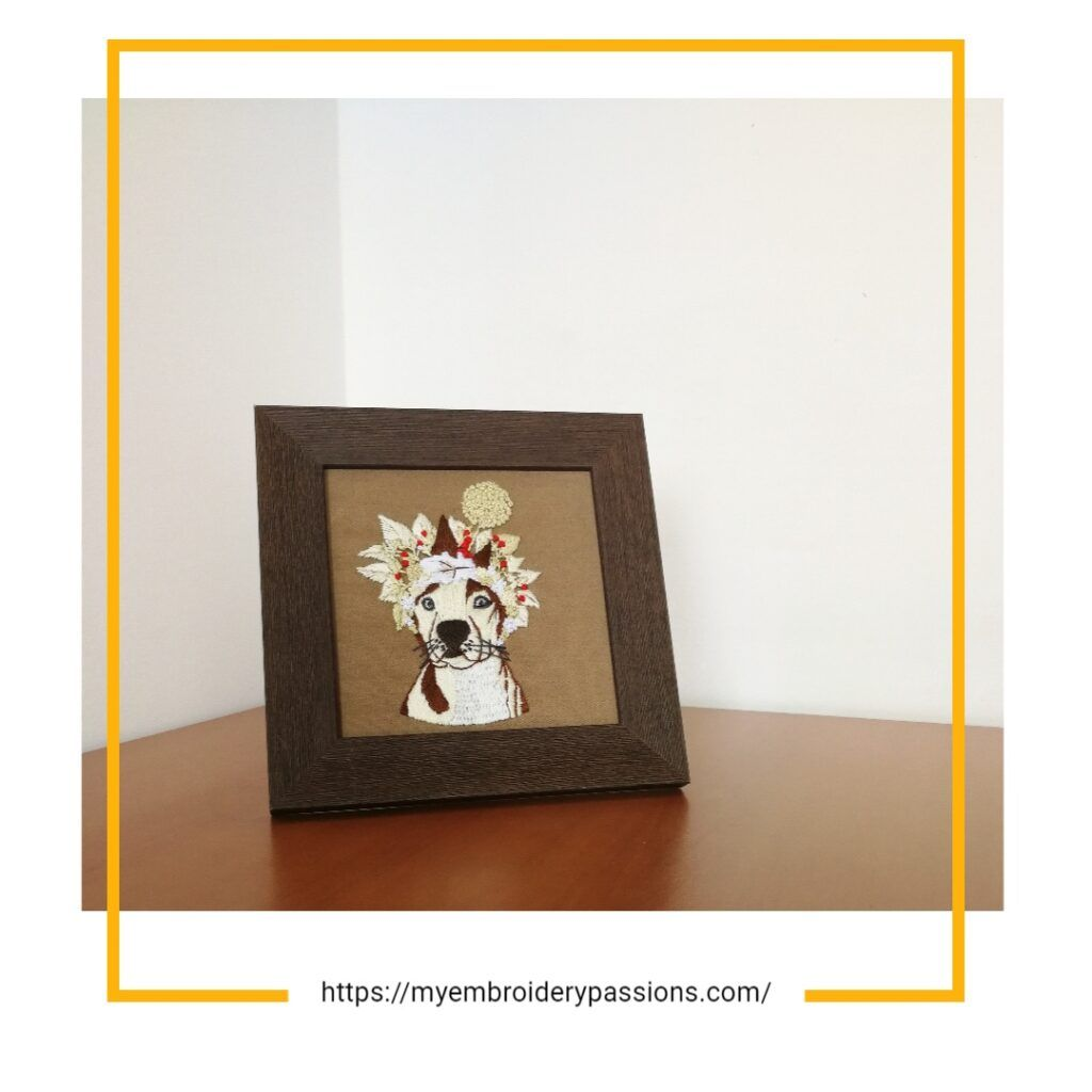 how to frame embroidery of a dog