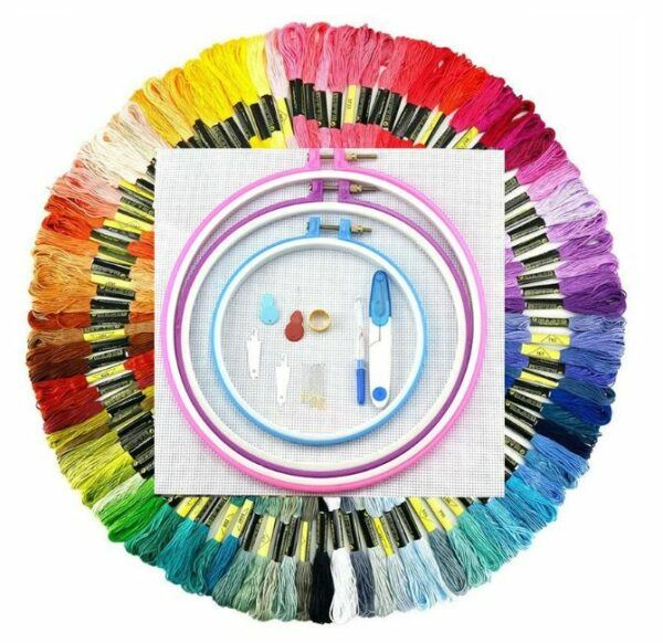 myembroiderypassions 5 PCS embroidery hoops and 100 PCS embroidery Thread Kit